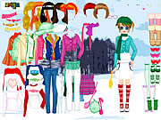 clique para juegos Winter Walking Dress Up